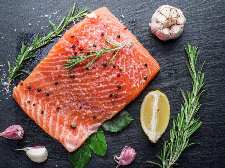 Fresh salmon on the cutting board.