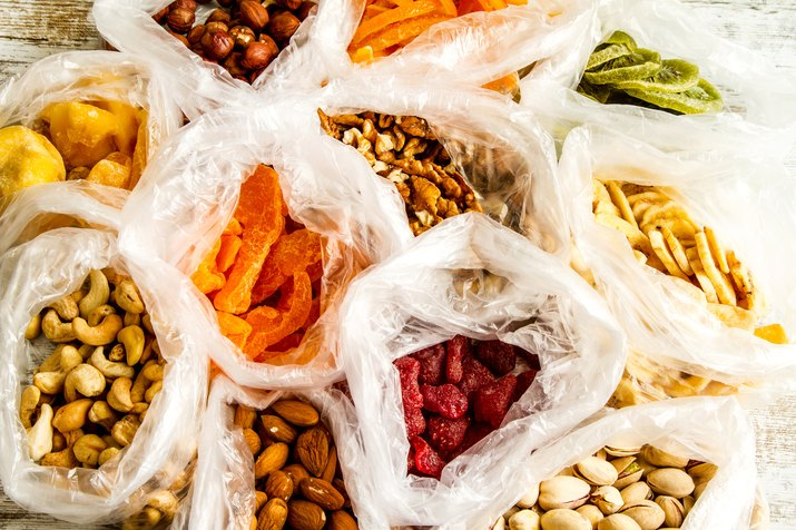 Selection of dried fruits in bags