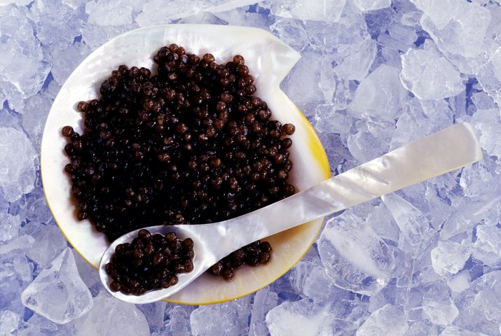 Beluga caviar on mother of pearl plate with spoon