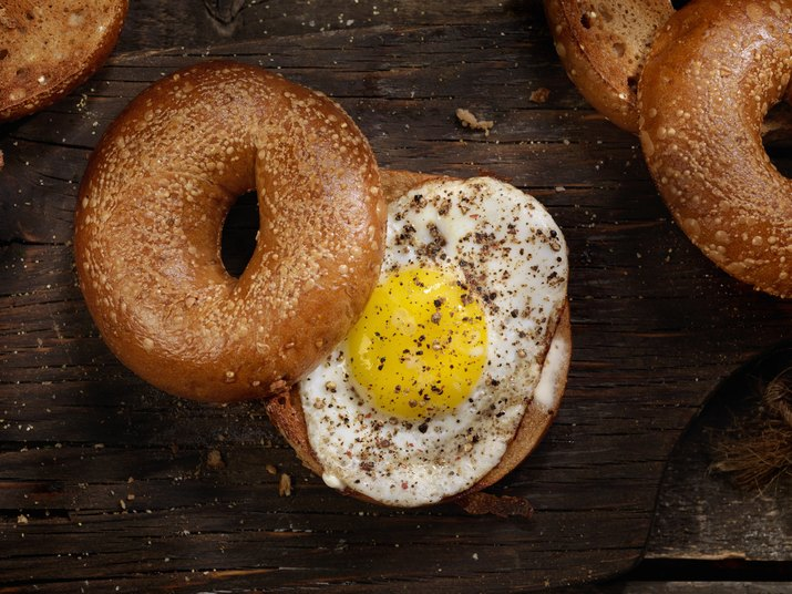 Toasted Bagel With a Sunnyside up Egg