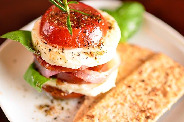 Caprese Salad with sesame crackers
