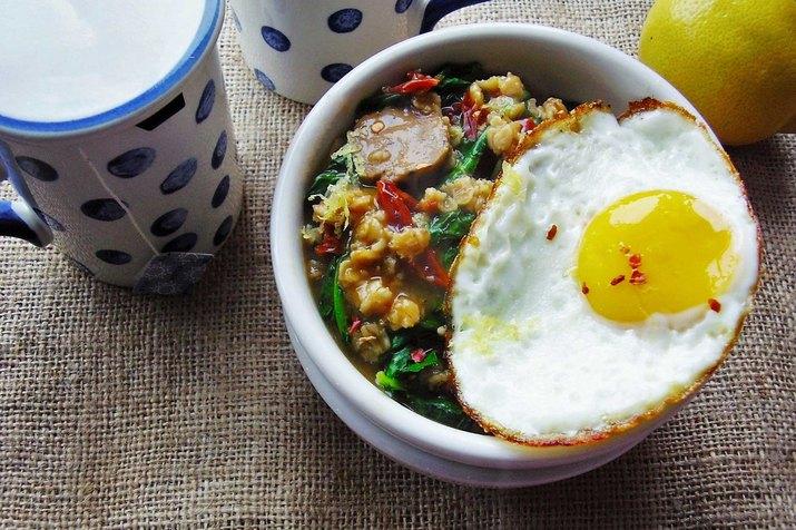 Kale, Turkey Sausage and Egg Oatmeal Savory Oatmeal Recipe