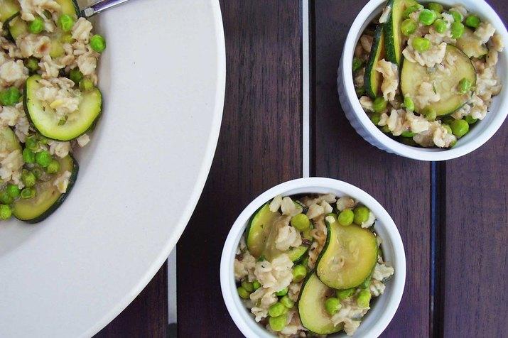 Spring Pea, Zucchini and Fresh Mint Oatmeal Savory Oatmeal Recipe