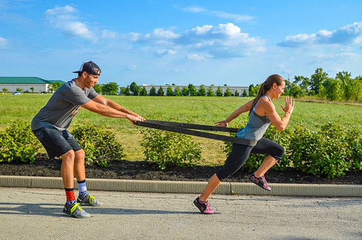 woman doing resisted sprints
