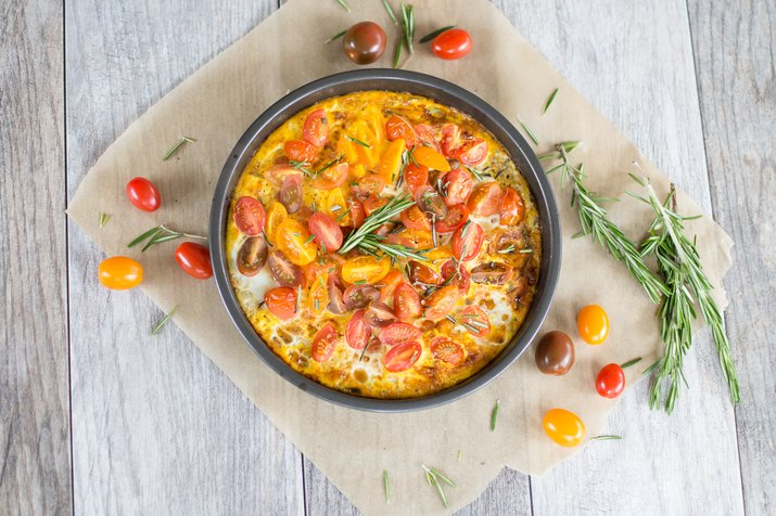 Broiled Heirloom Tomato and Rosemary Frittata