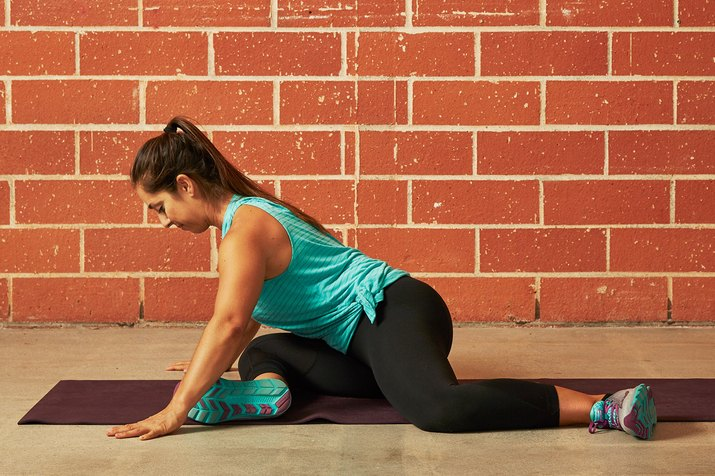 Woman Demonstrating the 90/90 Base Position