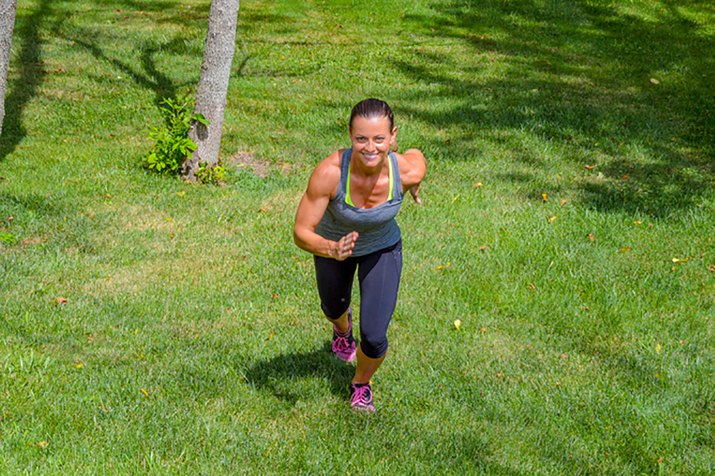 woman doing hill sprints