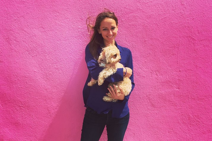 cute dog pink woman