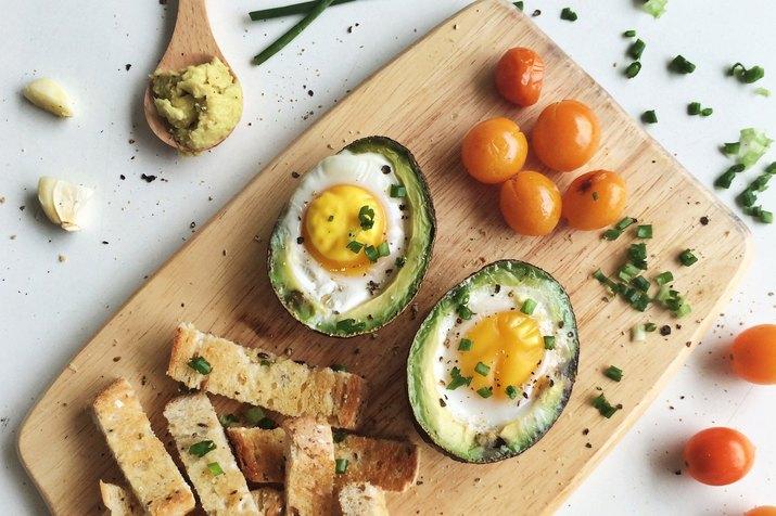 Egg-filled avocado halves.