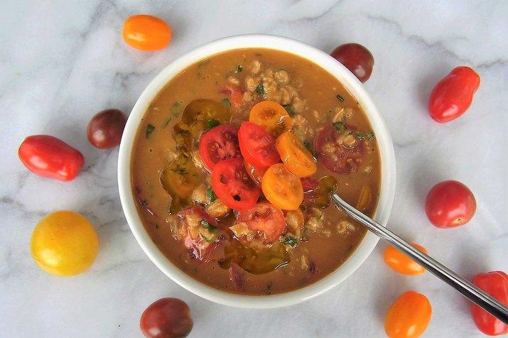 Cherry Tomato, Basil and Mozzarella Oatmeal Savory Oatmeal Recipe