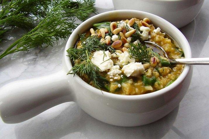 Greek Spinach and Feta Oatmeal Savory Oatmeal Recipe