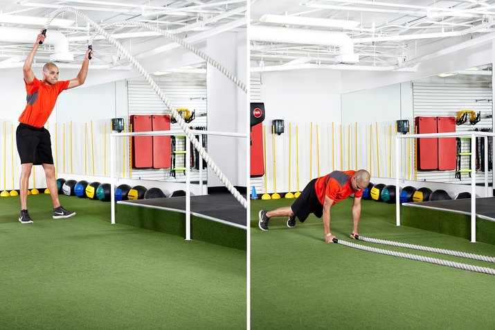 Man doing overhead slams to an up-down with the battle ropes