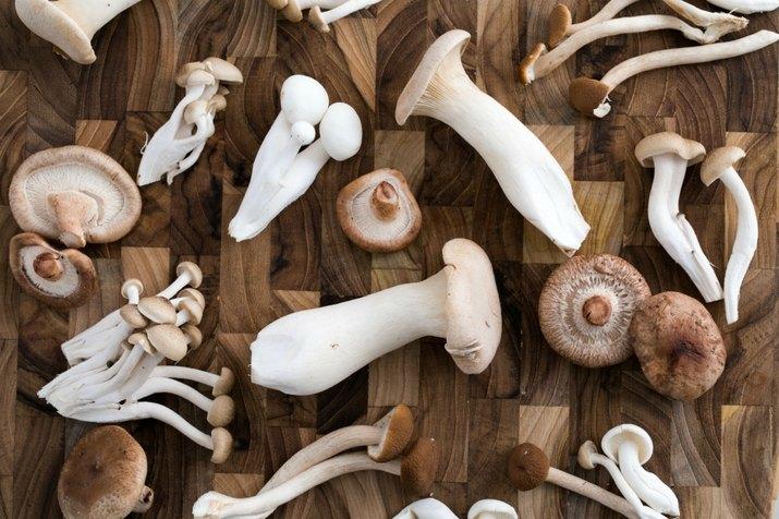 Mushrooms on cutting board