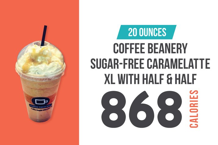Coffee Beanery Sugar-Free Caramelatte XL With Half & Half