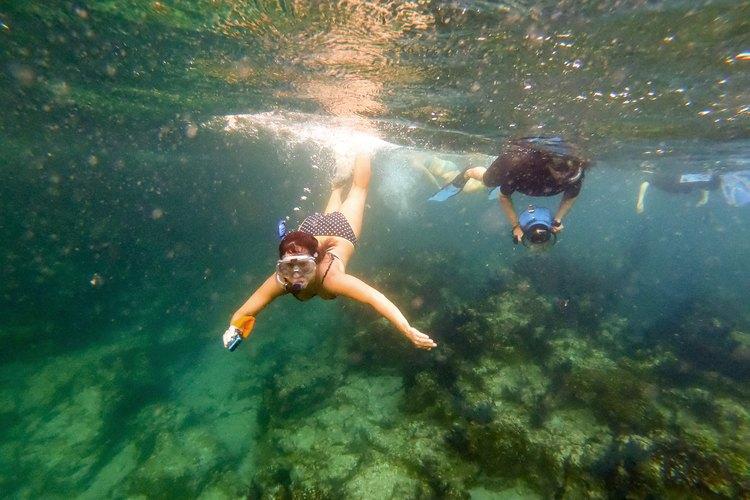 Kim and me underwater