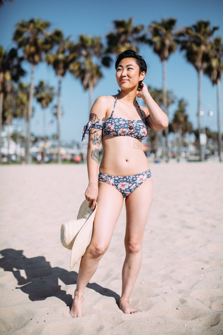 petite woman wearing target two-piece swimsuit