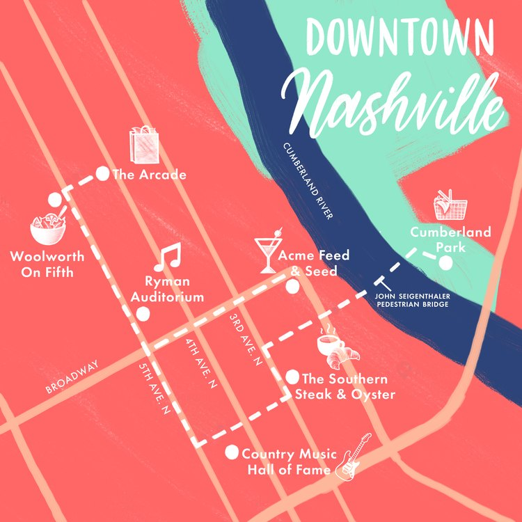 Downtown Nashville map