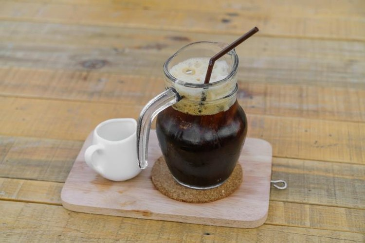 Iced cold-brew coffee on a wooden table