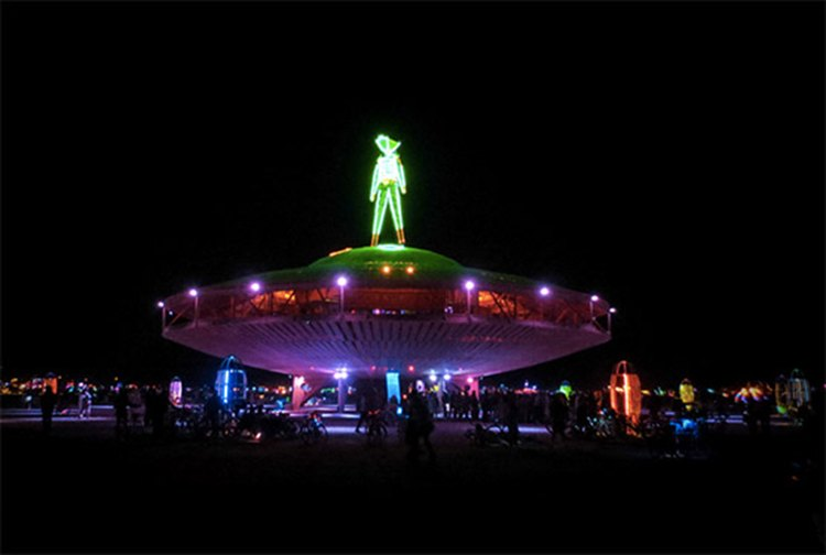 The Man at night at Burning Man 2013.
