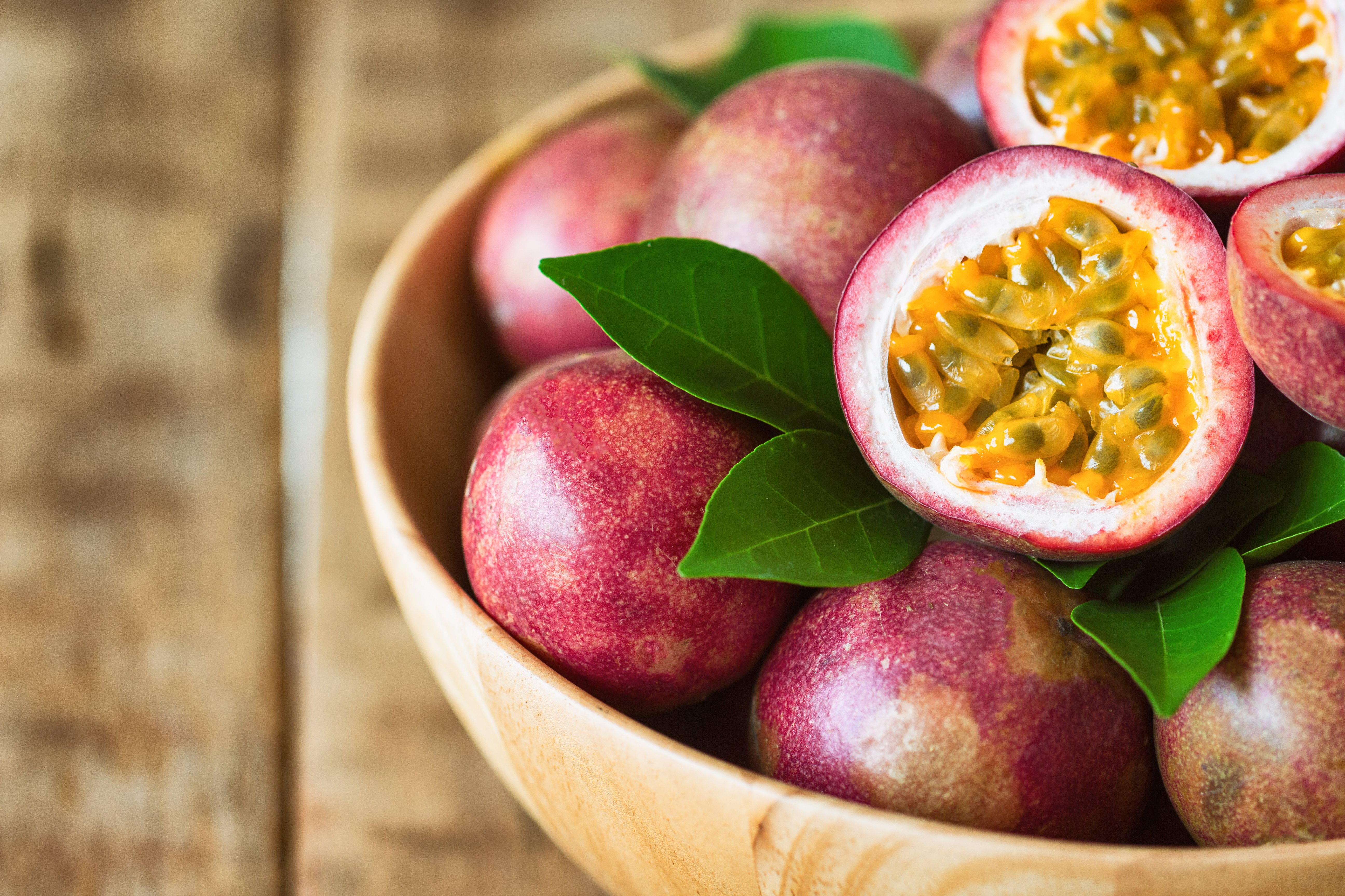 close up of passionfruit, a food high in fiber