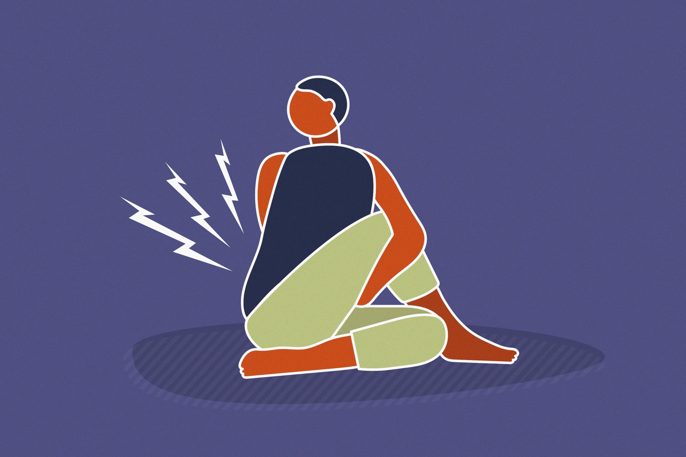 illustration of person cracking back