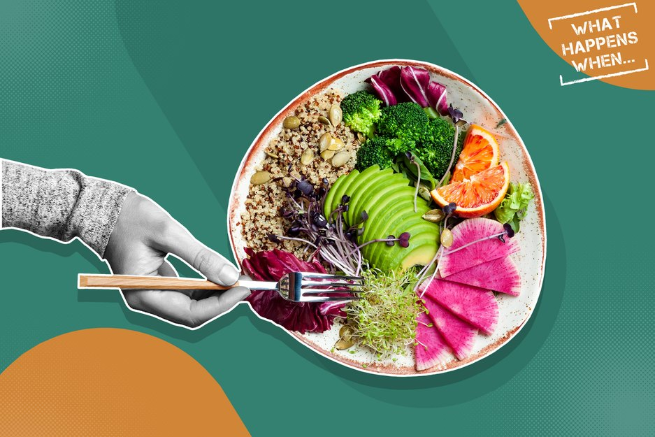 Custom mixed media image showing hand with bowl of colorful salad