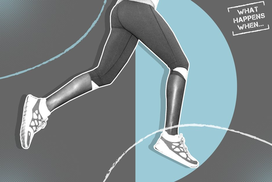 gray and white image of woman's lower body mid-run on gray and light blue background
