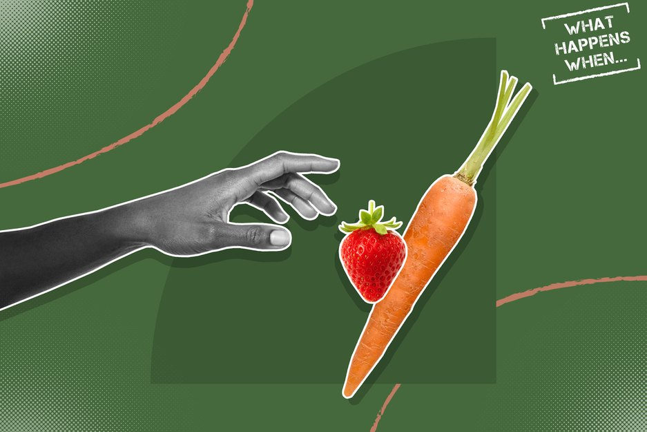 Custom graphic showing hand reaching for a strawberry and carrot