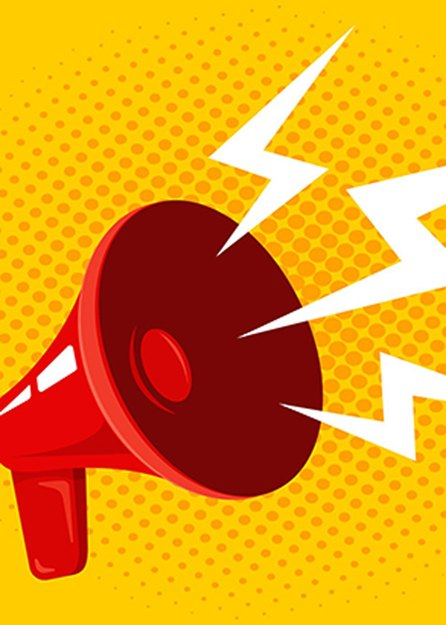 illustration of red loudspeaker with white concept of sound coming out on yellow background
