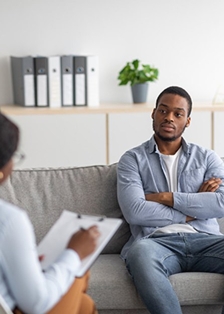 patient talking with therapist