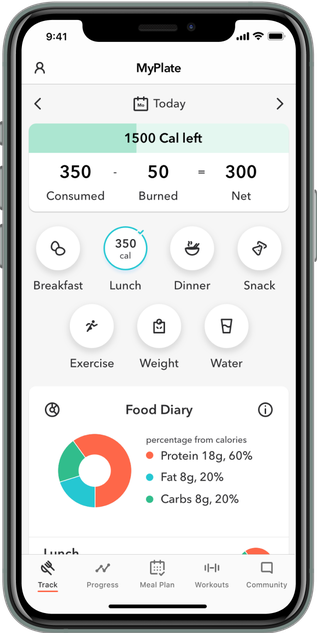 Iphone App opened to calorie tracker